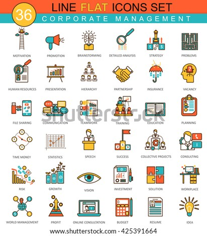 Vector Corporate management animal flat line icon set. Modern elegant style design for web. Corporate management icons set, Corporate management icons collection, management flat line icons - stock vector