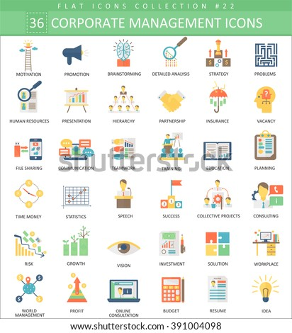 Vector Corporate managment color flat icon set. Elegant style design. Management icons, Management icons set, Management icons collection, Management color icons, Management flat icons. - stock vector