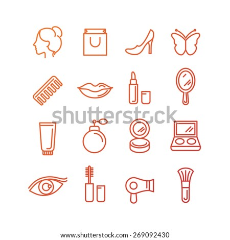 Vector cosmetics and beauty icons in trendy linear style - set of signs related to women - stock vector