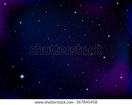 Vector cosmic background with stars and constellations in outer space. Night starry sky vector background - stock vector