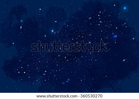 Vector Cosmology Illustration with Universe, Galaxy, Sun, Planets and Stars. Can be used for Invitation or Booklet. Futuristic view with Depth and Space Background - stock vector