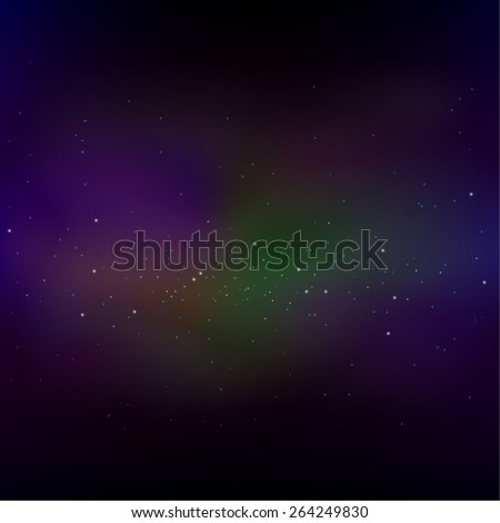 Vector cosmos illustration with stars and galaxy. - stock vector