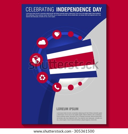 Vector Costa Rica Independence Day Flyer template. Creative Brochure Title Page. National Day Leaflet design element. vector illustration - stock vector