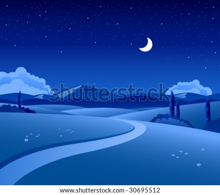 Vector countryside landscape by night