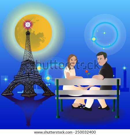Vector Couple Sitting in Paris. - stock vector