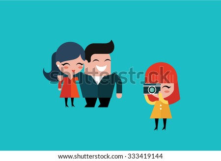 vector couple taking a picture - stock vector