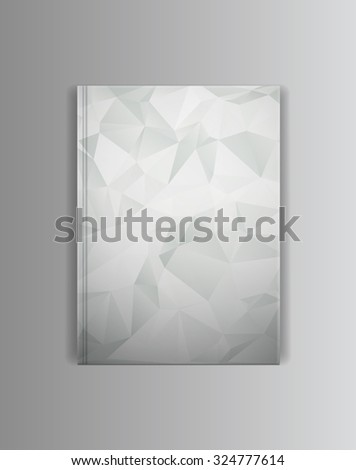 Vector cover book mock up template. Blank empty lying horizontally cover with trianle gradient grey shadows. Ready to place your image. - stock vector