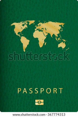 vector cover of green leather biometric passport with world map
