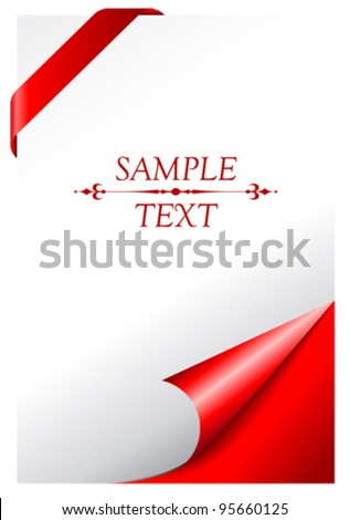 Vector cover page with curled corner - stock vector