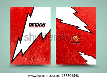 Vector cover template lightning on texture background . vector illustration. can use for cover book flyer design template with paper. - stock vector