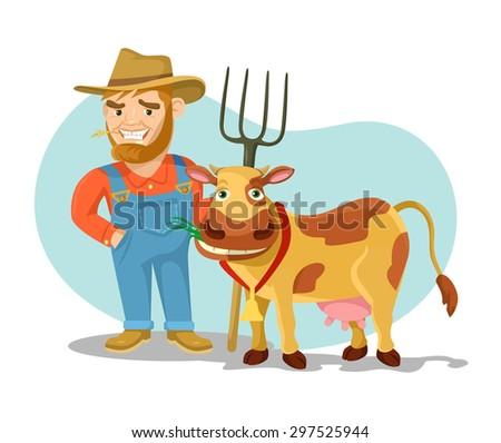 Vector cow and farmer flat cartoon illustration - stock vector