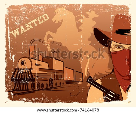 Vector cowboy and train. Western grunge poster - stock vector
