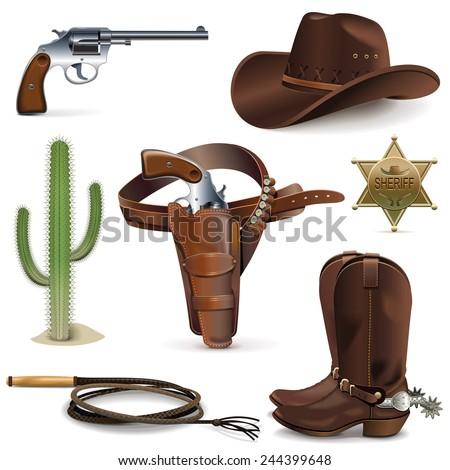 Vector Cowboy Icons - stock vector