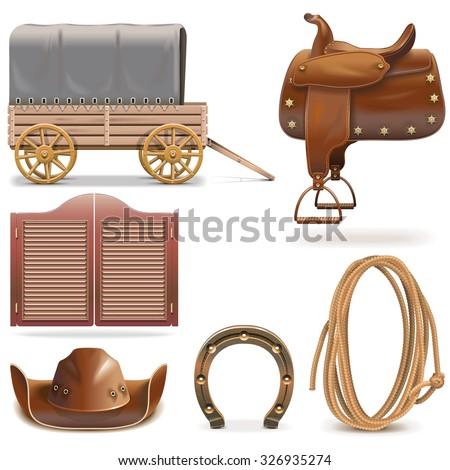Vector Cowboy Icons Set 2 - stock vector