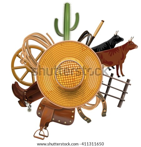 Vector Cowboy Ranch Concept with Straw Hat - stock vector