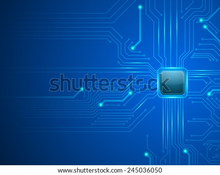 vector cpu computer technology, electronic concept. - stock vector