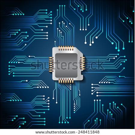 vector cpu computer technology, electronic concept. circuit board - stock vector