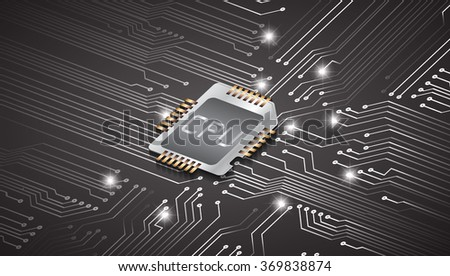 vector CPU computer technology, electronic concept. dark black circuit board. info graphics. - stock vector