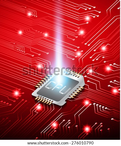 vector cpu computer technology, electronic concept. dark red circuit board. infographics. - stock vector