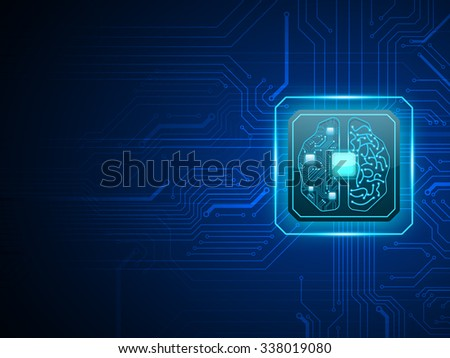 Vector cpu computer with brain, CPU computer technology, Electronic concept. - stock vector
