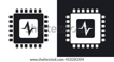 Vector CPU or Processor test icon. Two-tone version of CPU or Processor test simple icon on black and white background - stock vector