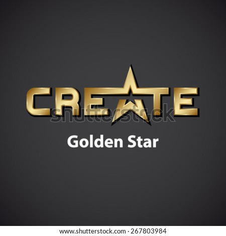 vector create golden star inscription icon - stock vector
