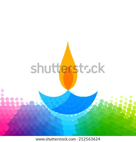 Vector creative colorful diwali diya isolated white background - stock vector