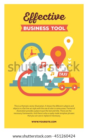 Vector creative colorful illustration of modern city taxi service with header and text on yellow background. Taxi service poster template. Flat style design for busy urban daily life theme - stock vector