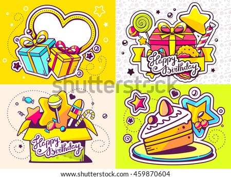 Vector creative colorful set of birthday illustration with gift box, frame, cake and other sweetness, text happy birthday on color background. Happy birthday templates. Flat style hand drawn design