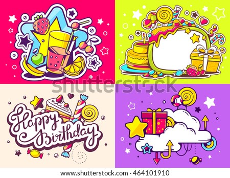 Vector creative colorful set of birthday illustration with gift box, star, cloud, juice, sweetness on color background. Happy birthday and celebration templates. Flat style hand drawn line art design