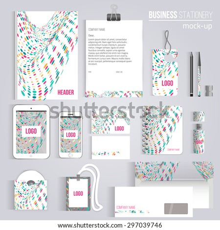 Vector creative colorful wave corporate identity stock vector vector creative colorful wave corporate identity set of stationery branding consist of letterhead book reheart Choice Image