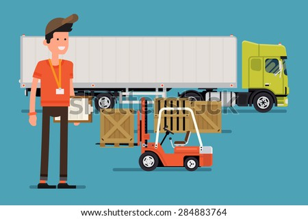Vector creative concept design on logistics and distribution with forklift loading cargo into semi-trailer truck and friendly smiling male worker character standing full length holding clipboard  - stock vector