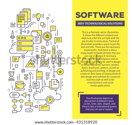 Vector creative concept illustration application software stock vector creative concept illustration of application software with header text software technology template background malvernweather Choice Image