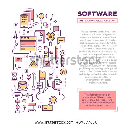 Vector creative concept illustration application software vectores vector creative concept illustration of application software with header text software technology template background malvernweather Choice Image