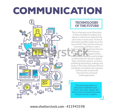 Vector creative concept illustration of communication with header and text on white background. Communication technology template. Hand draw flat thin line art style design for social media theme - stock vector