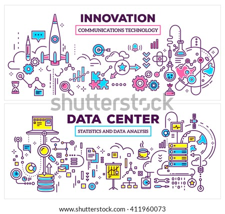 Vector creative concept illustration of data center, innovation on white background. Horizontal template. Hand draw flat thin line art style monochrome design for server, innovation technology theme