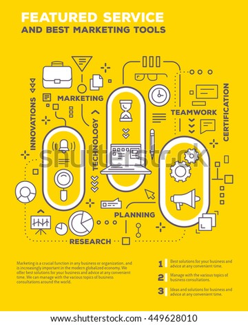 Vector creative concept illustration of graph business project with header, text on yellow background. Service composition poster template. Flat thin line art style design of business infographics - stock vector