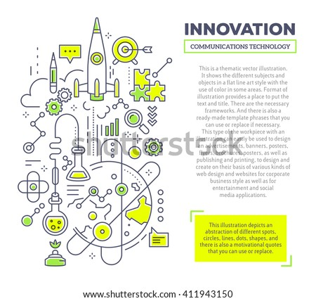 Vector creative concept illustration of innovation with header and text on white background. Innovation technology template. Hand draw flat thin line art style design for innovation and research theme - stock vector