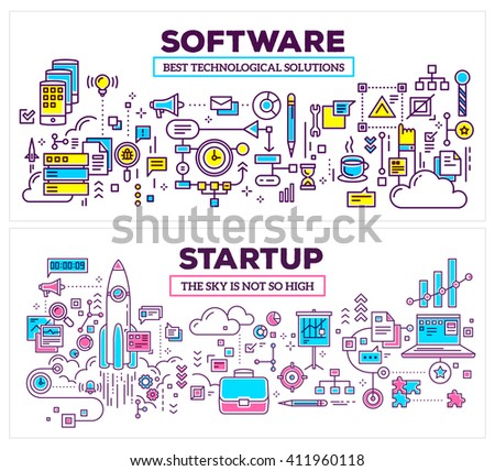 Vector creative concept illustration of software and startup on white background. Horizontal template. Hand draw flat thin line art style design for application development, startup technology theme - stock vector