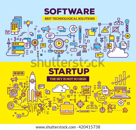 Vector creative concept illustration of software and technology start up. Horizontal composition template. Hand draw flat thin line art style design for application development, start up technology  - stock vector