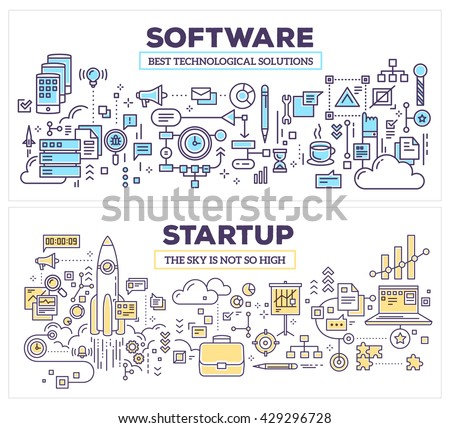 Vector creative concept illustration of software and technology startup. Horizontal composition template. Hand draw flat thin line art style design for application development, startup technology - stock vector