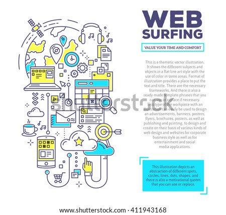 Vector creative concept illustration of web surfing with header, text on white background. Web surfing composition template. Hand draw flat thin line art style monochrome design for web surfing theme - stock vector