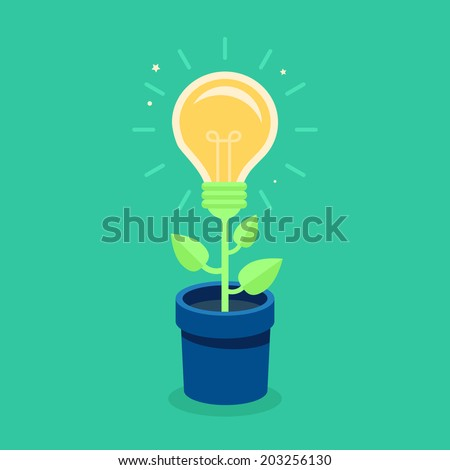 Vector creative concept in flat style - light bulb growing from the flower pot - idea icon - stock vector