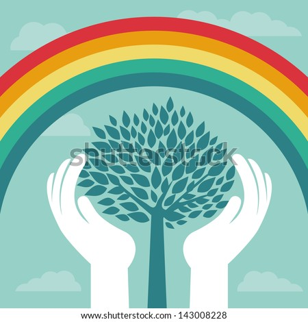 Vector creative concept with rainbow and human hands - abstract growth concept - stock vector