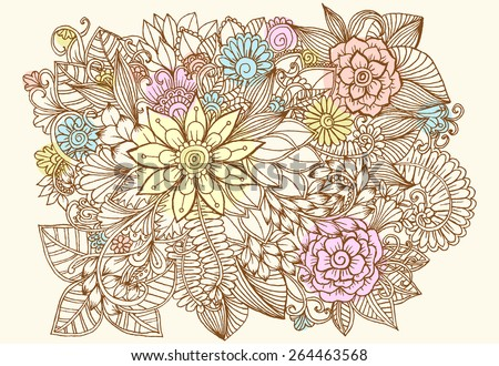 Vector creative flower pattern. Doodle floral design elements - stock vector