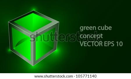 Vector creative green cube with reflection looks like glass and laser lights - stock vector