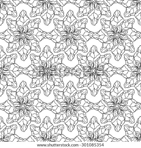 Vector creative hand-drawn abstract seamless pattern of stylized flowers in black and white colors  - stock vector