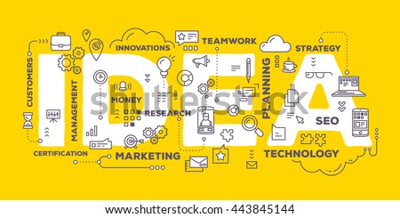Vector creative illustration of idea word lettering typography with line icons and tag cloud on yellow background. Creative idea concept. Thin line art style design for business idea, website banner - stock vector