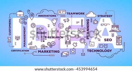 Vector creative illustration of idea word lettering typography with line icons and tag cloud on glow blue gradient background. Creative idea concept. Thin line art style design of business idea banner - stock vector