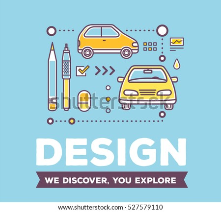 Vector creative illustration of linear yellow car with drawing tools, icons and header on blue background. Design of car concept. Flat thin line art style design for creative car design studio